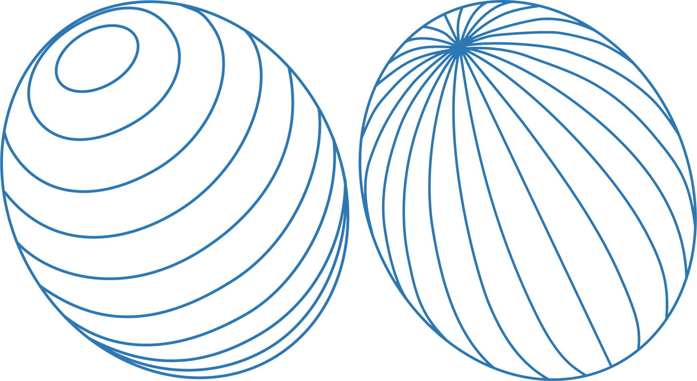 Drawing Lines Of Longitude And Latitude : Latitude and longitude lines on tilted ovals john muir laws