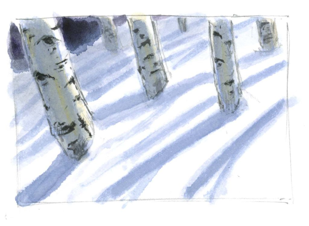Painting Shadows on Snow with Watercolor