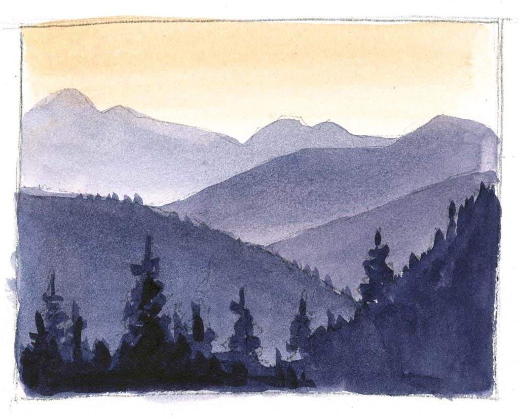 How to paint a sunrise landscape with a waterbrush.