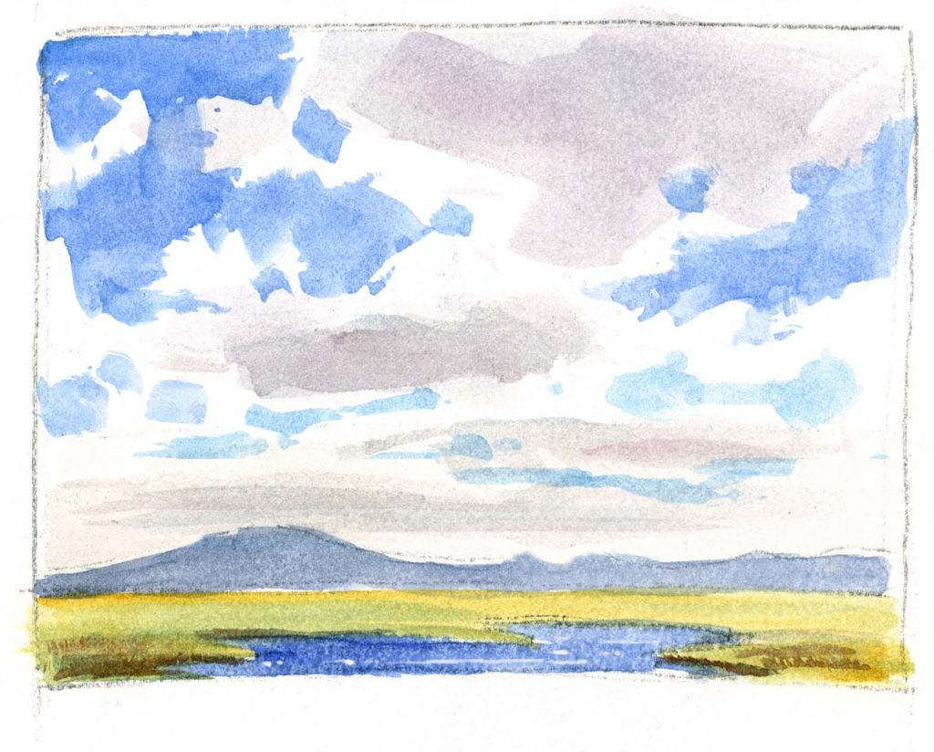 How to paint clouds with a flat waterbrush